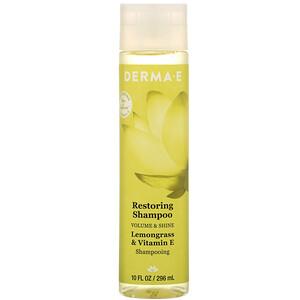 Дерма Е, Restoring Shampoo, Volume & Shine, Lemongrass & Vitamin E, 10 fl oz (296 ml) отзывы покупателей