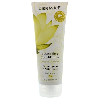 Derma E, Restoring Conditioner, Volume & Shine, Lemongrass & Vitamin E, 8 fl oz (236 ml)