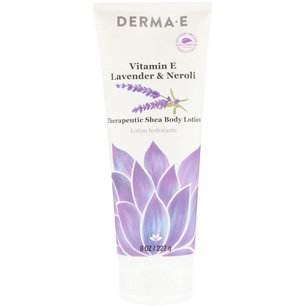 Derma E, Терапевтический лосьон для тела с маслом ши и витамином Е, лаванда и нероли, 227 г