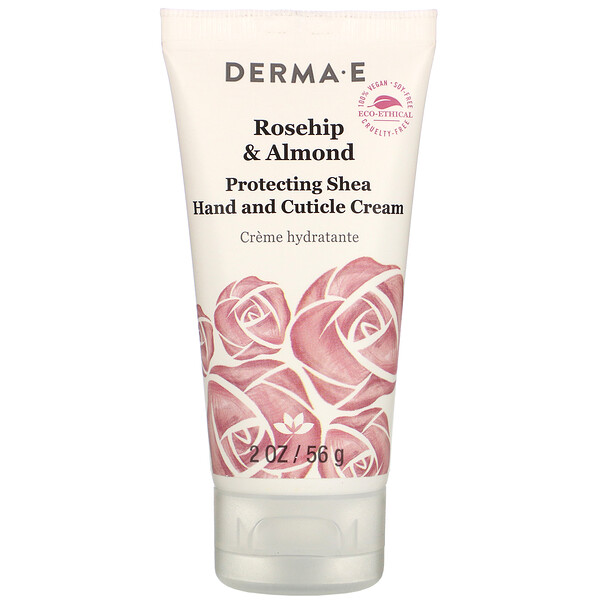 Derma E, Protective Shea Hand and Cuticle Cream, Rosehip & Almond, 2 oz (56 g)