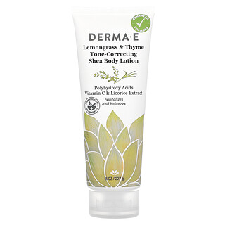 Derma E, Tone-Correcting Shea Body Lotion, Lemongrass & Thyme, 8 oz (227 g)