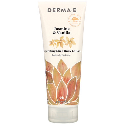 Купить Derma E Hydrating Shea Body Lotion, Jasmine & Vanilla, 8 oz (227 g)
