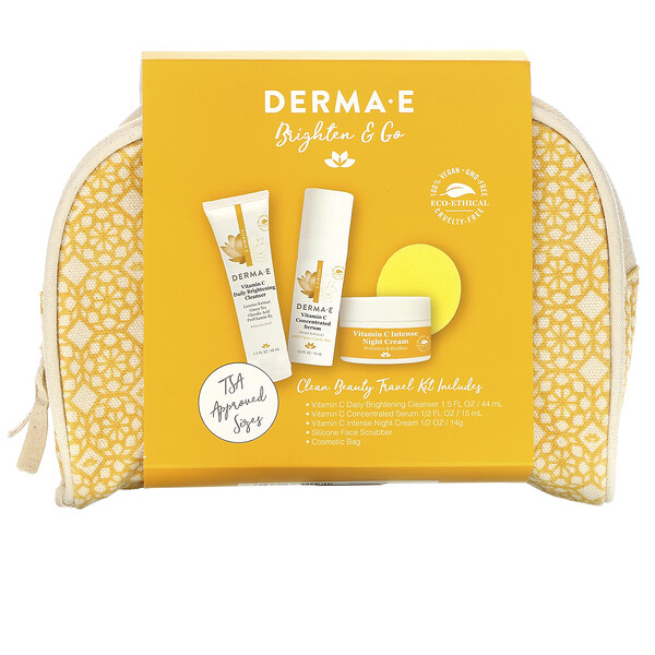 Derma E, Brighten & Go, Clean Beauty Travel Kit, 5 Piece Kit