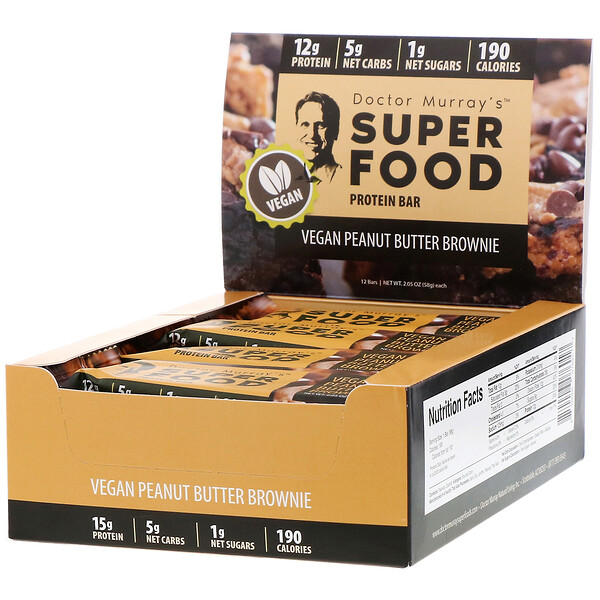 Dr. Murray's, Superfood Protein Bars, Vegan Peanut Butter Brownie, 12 Bars, 2.05 oz (58 g) Each