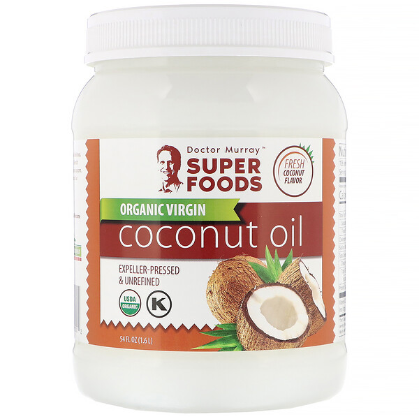 Óleo de Coco Orgânico Virgem, Extraído em Prensa e Não Refinado, 1,6 l (54 fl oz)