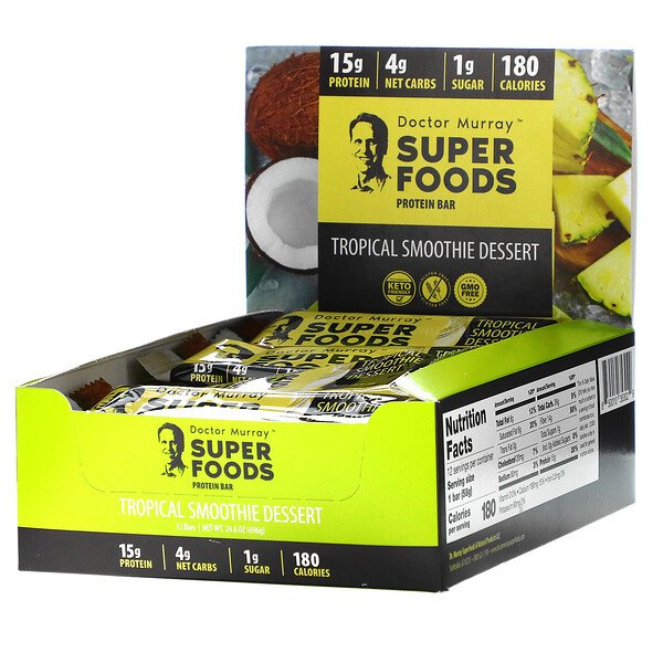 Dr. Murray's, Superfoods Protein Bar, Tropical Smoothie Dessert,  12 Bars, 2.05 oz (58 g) Each (Discontinued Item)