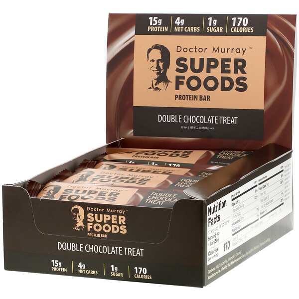 Superfoods Protein Bars, Double Chocolate Treat, 12 Bars, 2.05 oz (58 g) Each