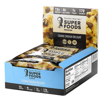 Купить Dr. Murray's Superfoods Protein Bars, Cookie Dough Delight, 12 Bars, 2.05 oz (58 g) Each
