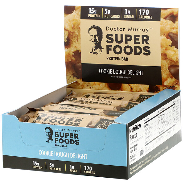 Superfoods Protein Bars, Cookie Dough Delight, 12 Bars, 2.05 oz (58 g) Each