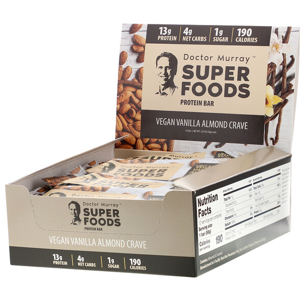 Superfoods Protein Bars, Vegan Vanilla Almond Crave , 12 Bars, 2.05 oz (58 g) Each