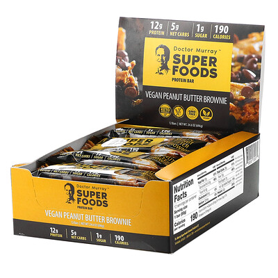 Dr. Murray's Superfoods Protein Bars, Vegan Peanut Butter Brownie , 12 Bars, 2.05 oz (58 g) Each
