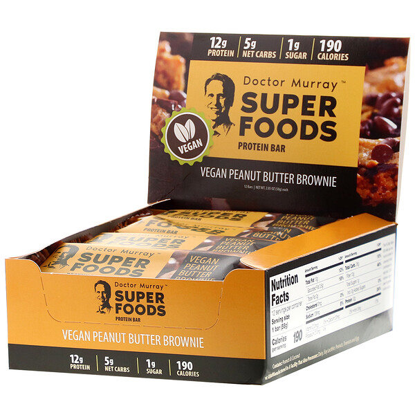 Superfoods Protein Bars, Vegan Peanut Butter Brownie , 12 Bars, 2.05 oz (58 g) Each