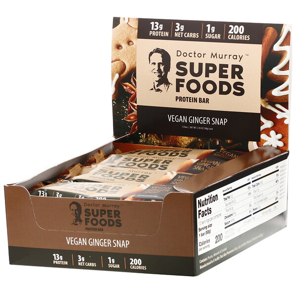 Superfoods Protein Bars, Vegan Ginger Snap, 12 Bars, 2.05 oz (58 g) Each