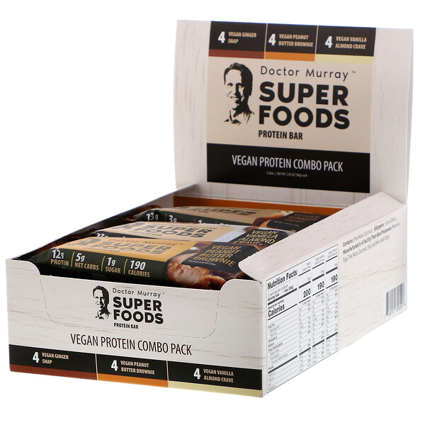 Superfoods Protein Bars, Vegan Protein Combo Pack, 12 Bars, 2.05 oz (58 g) Each