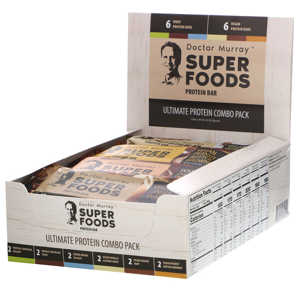 Superfoods Protein Bars, Ultimate Protein Combo Pack, 12 Bars, 2.05 oz (58 g) Each