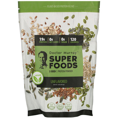 Dr. Murray's Super Foods, 3 Seed Vegan Protein Powder, Unflavored, 16 oz (453.5 g)