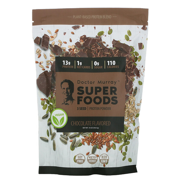 Super Foods, 3 Seed Protein Powder, Chocolate, 16 oz (453.5 g)