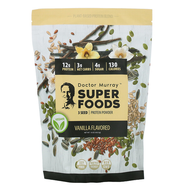 Super Foods, 3 Seed Protein Powder, Vanilla, 16 oz (453.5 g)
