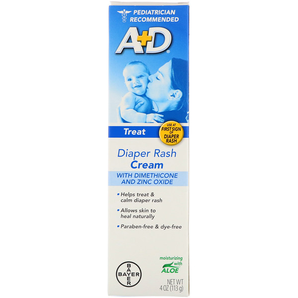 A+D, Diaper Rash Cream with Dimethicone and Zinc Oxide, 4 oz (113 g)