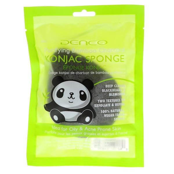 Denco, Konjac Sponge, Purifying Bamboo Charcoal, 1 Sponge