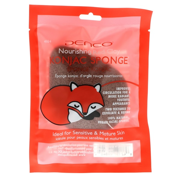 Denco, Konjac Sponge, Nourishing Red Clay, 1 Sponge (Discontinued Item)