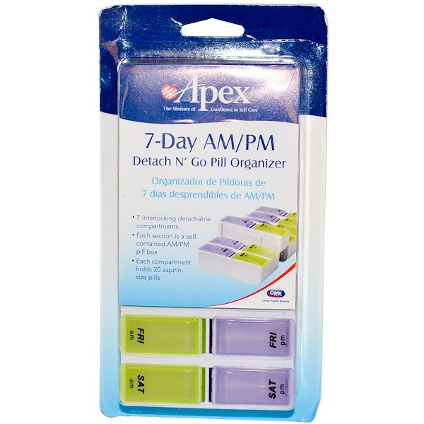 Apex, 7-Day AM/PM Detach N' Go, 1 Pill Organizer