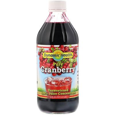 Купить Dynamic Health Laboratories Чистая клюква, 100% концентрат сока, без подсластителей, 16 ж. унц.(473 мл)