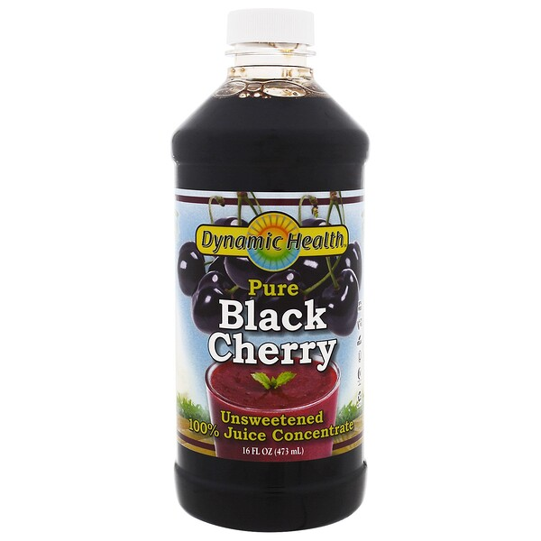 Dynamic Health  Laboratories, Pure Black Cherry Juice, Unsweetened, 16 fl oz (473 ml)