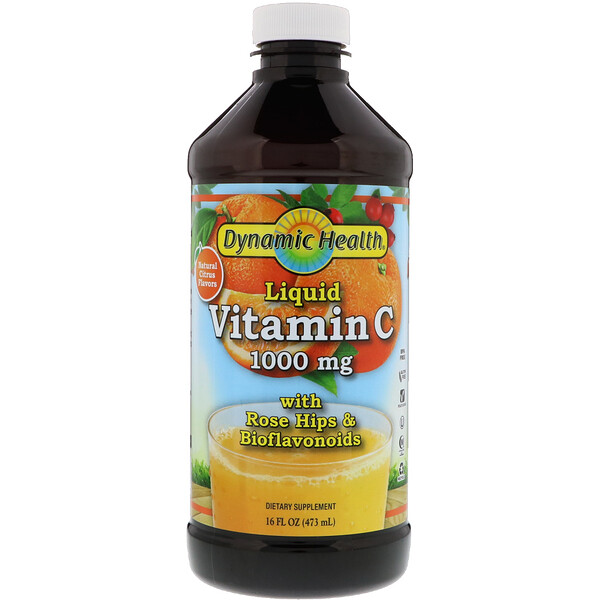 Dynamic Health  Laboratories, Liquid Vitamin C, Natural Citrus Flavors, 1000 mg, 16 fl oz (473 ml)