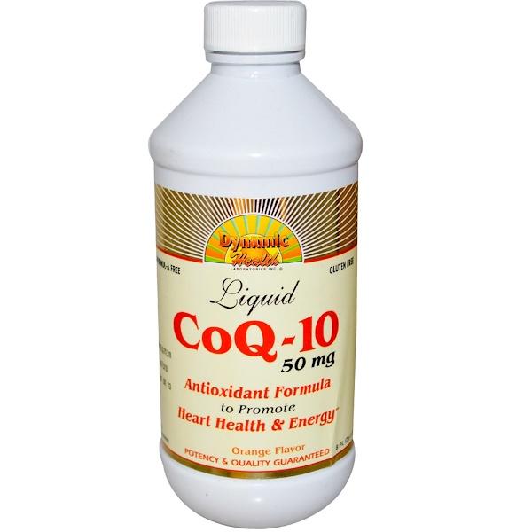 Dynamic Health  Laboratories, CoQ-10, Liquid, Orange Flavor, 50 mg, 8 fl oz (237 ml) (Discontinued Item)