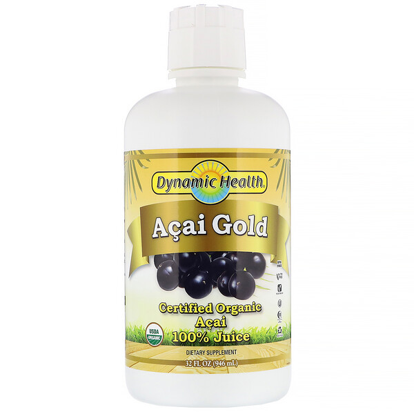 Dynamic Health  Laboratories, Certified Organic Acai Gold, 100% Juice, 32 fl oz (946 ml)