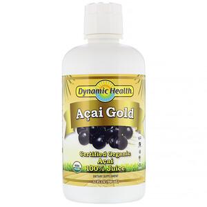 Динамик Хэлс Лабораторис, Certified Organic Acai Gold, 100% Juice, 32 fl oz (946 ml) отзывы покупателей