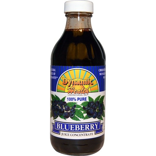 Dynamic Health  Laboratories, 100%ブルーベリー濃縮ジュース, 無糖, 8 fl oz (237 ml)