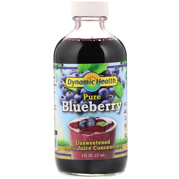 Dynamic Health  Laboratories, Pure Blueberry, 100% Juice Concentrate, Unsweetened, 8 fl oz (237 ml) (Discontinued Item)