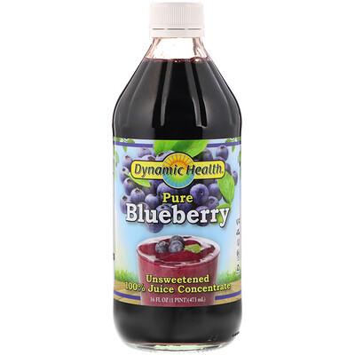 Купить Dynamic Health Laboratories Pure Blueberry, 100% Juice Concentrate, Unsweetened, 16 fl oz (473 ml)