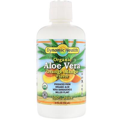 Купить Dynamic Health Laboratories Organic Aloe Vera, Orange Mango Flavor, 32 fl oz (946 ml)