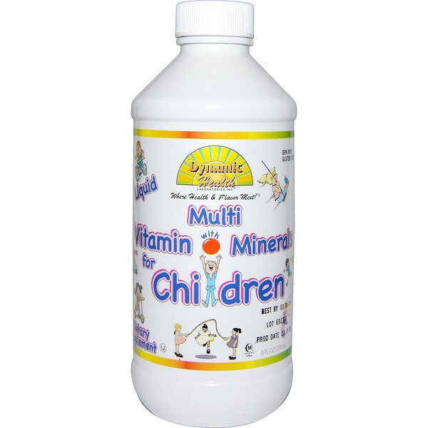 Dynamic Health  Laboratories, Liquid Multi Vitamin with Minerals for Children, Fruit Punch Flavor, 8 fl oz (237 ml) (Discontinued Item)