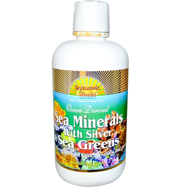 Dynamic Health  Laboratories, Sea Minerals with Silver & Sea Greens, Lemon-Lime Flavor, 32 fl oz (946 ml) (Discontinued Item)