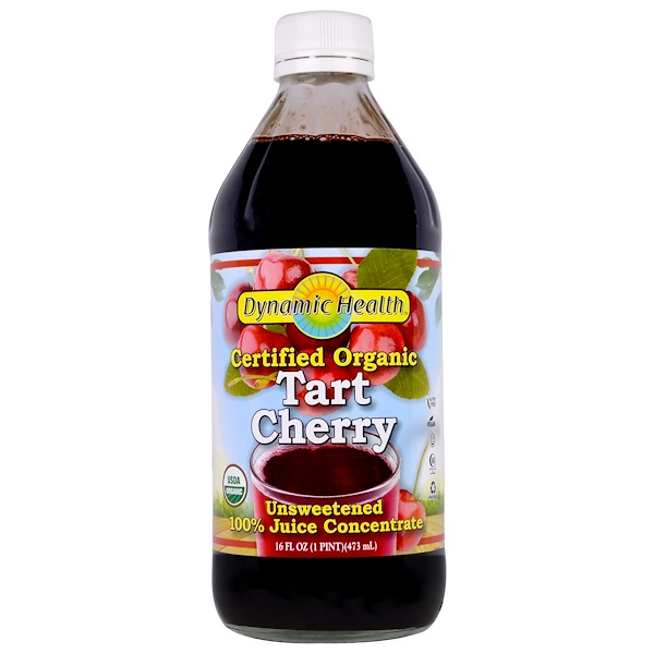 Dynamic Health  Laboratories, Certified Organic, Tart Cherry 100% Juice Concentrate, Unsweetened, 16 fl oz (473 ml)