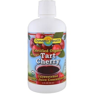 Dynamic Health  Laboratories, Certified Organic Tart Cherry Juice Concentrate, Unsweetened, 32 fl oz (946 ml)