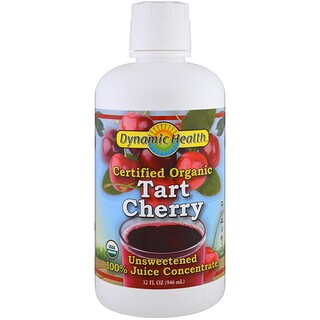 Dynamic Health  Laboratories, Certified Organic Tart Cherry, 100% Juice Concentrate, Unsweetened, 32 fl oz (946 ml)