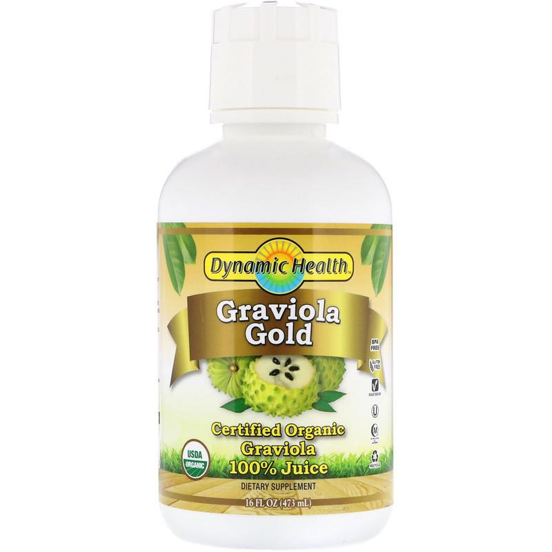 Dynamic Health Laboratories, 有機認證的黃金刺果番荔枝,100%果汁,16液體盎司(473毫升)