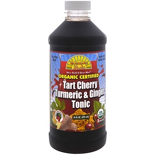 Dynamic Health  Laboratories, Organic Tumeric & Ginger Tonic, Tart Cherry, 16 fl oz (473 ml)