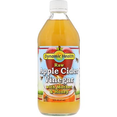 Dynamic Health  Laboratories Непастеризованный органический яблочный уксус с уксусной маткой и медом, 473 мл (16 fl oz)