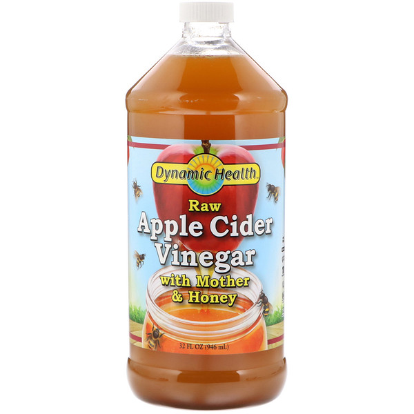 Dynamic Health  Laboratories, Raw Apple Cider Vinegar with Mother & Honey, 32 fl oz (946 ml)