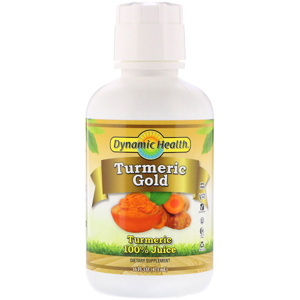 Dynamic Health  Laboratories, Turmeric Gold, 100% Turmeric Juice, 16 fl oz (473 ml)