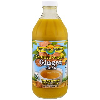 Dynamic Health  Laboratories, Certified Organic Ginger, 100% Juice, Unsweetened, 16 fl oz (473 ml)