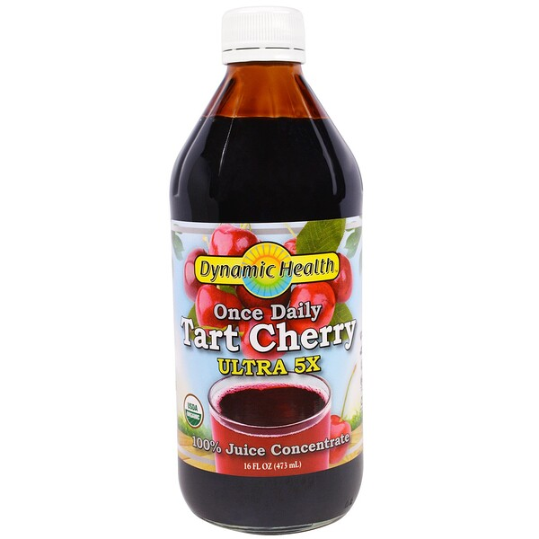 Dynamic Health  Laboratories, Once Daily Tart Cherry, Ultra 5X, 100% Juice Concentrate, 16 fl oz (473 ml)