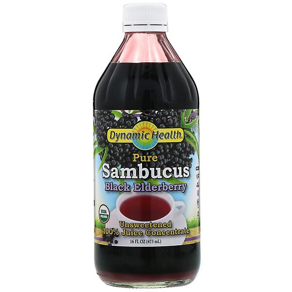 Dynamic Health  Laboratories, Pure Sambucus Black Elderberry, 100% Juice Concentrate, Unsweetened, 16 fl oz (473 ml)