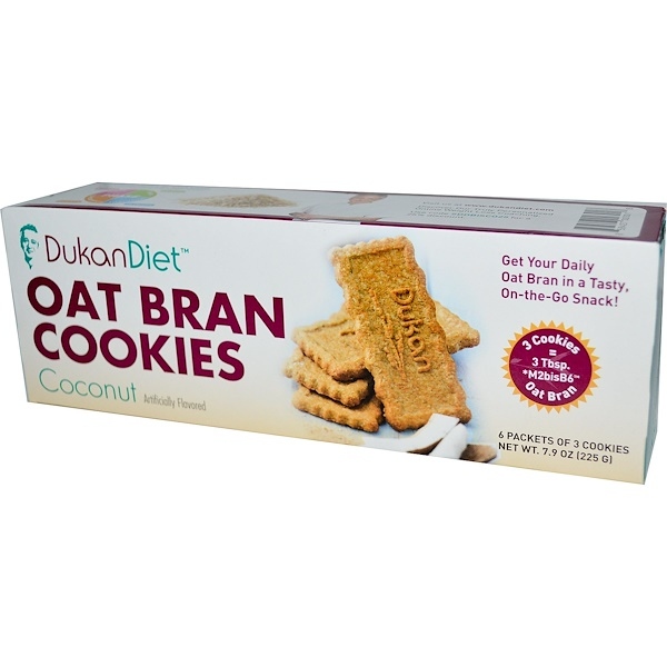 Dukan Diet, Oat Bran Cookies, Coconut, 6 Packets of 3 Cookies (37 g) Each (Discontinued Item)